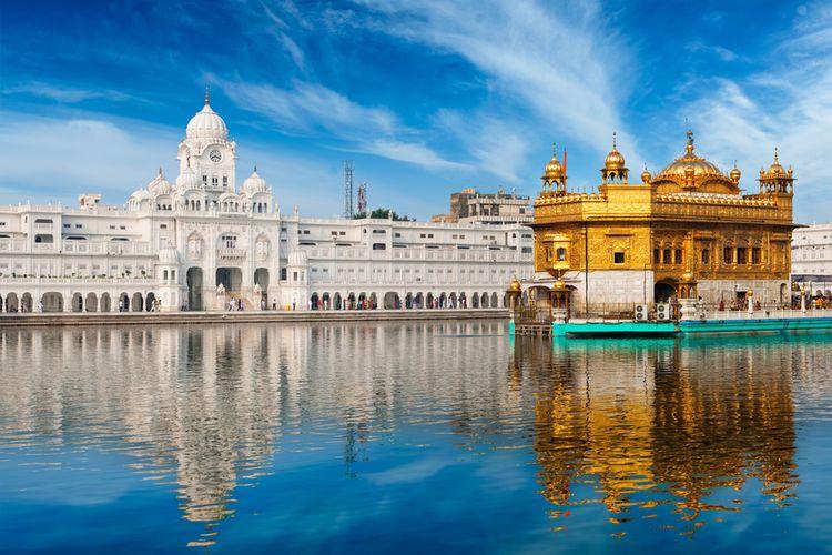 Ilustrasi Sikh gurdwara Golden Temple (Harmandir Sahib), Amritsar, Punjab, India.
