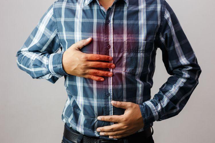 Ilustrasi sakit asam lambung.