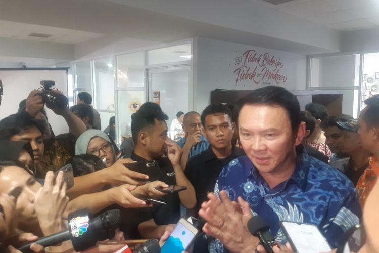 Mantan Gubernur DKI Jakarta Basuki Tjahaja Purnama di Kantor Tempo, Palmerah, Jakarta Selatan, Senin (17/2/2020)