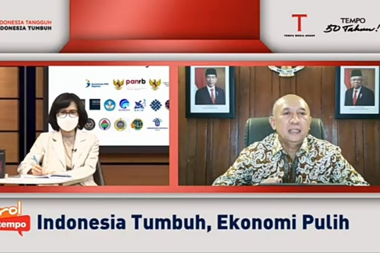 A screengrab of Cooperatives and Small and Medium Enterprises Minister Teten Masduki during a virtual discussion organized by Tempo on Wednesday, August 18.