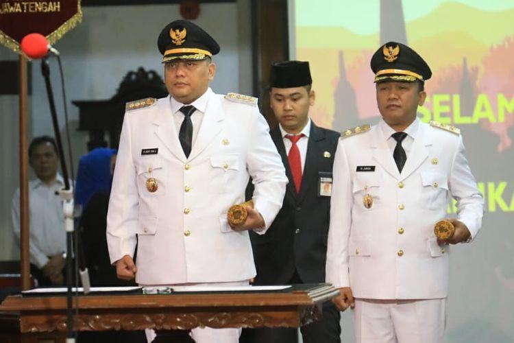 Dedy Yon Supriyono dan Muhammad Jumadi sebagai Wali Kota dan Wakil Wali Kota Tegal periode 2019-2024, Sabtu (23/3/2019)