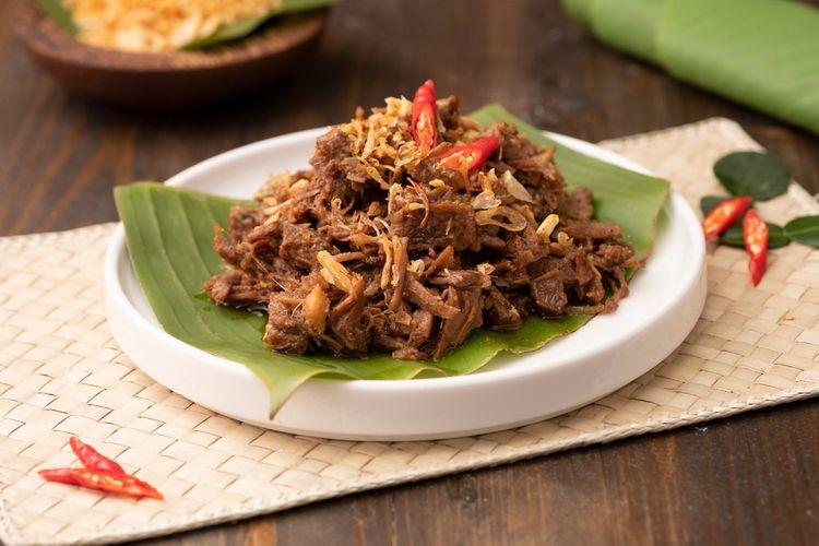Ilustrasi empal daging suwir untuk lauk makan.