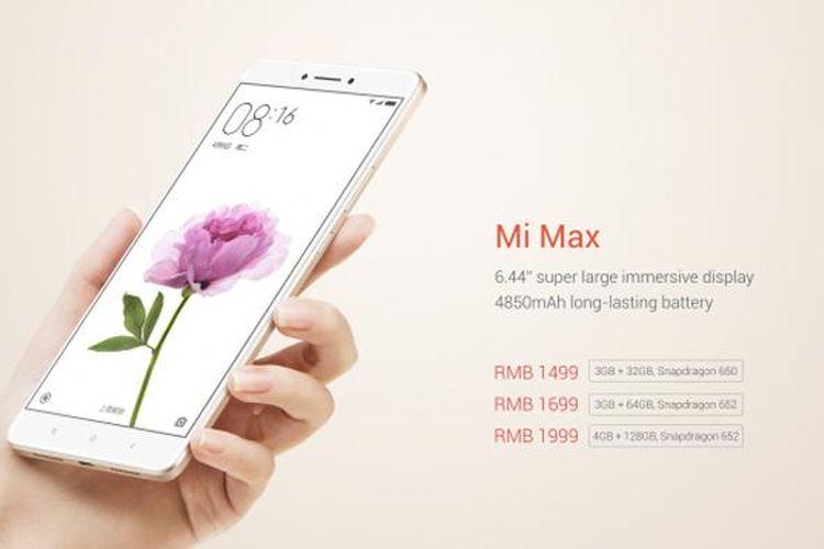 Ponsel Xiaomi Mi Max diluncurkan dengan tiga varian hardware dan harga.