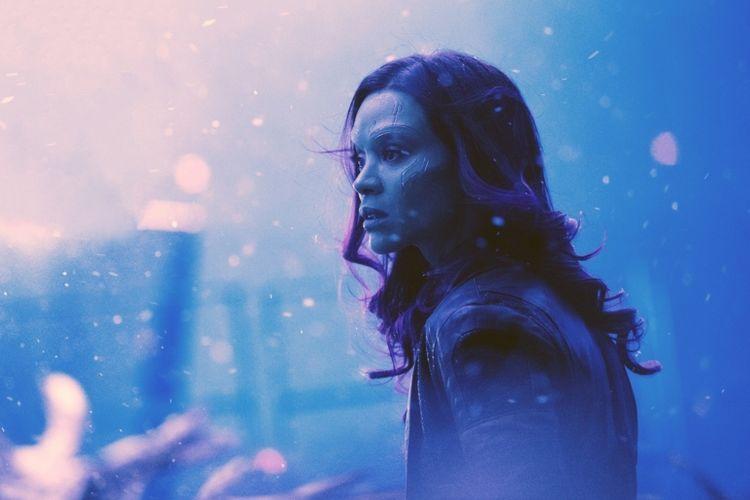 Zoe Saldana sebagai Gamora dalam Avengers: Infinity War (2018).