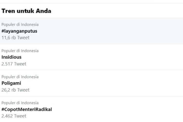 Trending Twitter Indonesia, Senin (4/11/2019). Pada bagian atas tercantum tagar Layangan Putus.