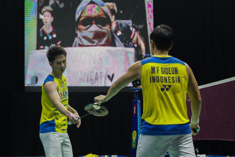 Pasangan ganda putra Indonesia Marcus Fernaldi Gideon/Kevin Sanjaya Sukamuljo pada saat tampil dalam ajang Simulasi Olimpiade Tokyo 2020.