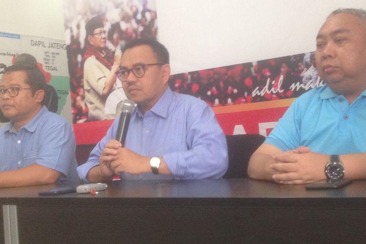 Direktur Materi Debat BPN Prabowo-Sandi, Sudirman Said, saat konferensi pers di Semarang, Kamis (14/3/2019).