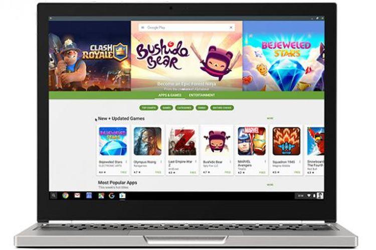 IIustrasi Google Play Store di laptop Chromebook