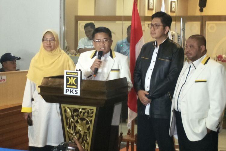 Presiden Partai Keadilan Sejahtera (PKS) Sohibul Iman saat memberikan keterangan pers di kantor DPP PKS, Jakarta Selatan, Selasa (7/8/2018).