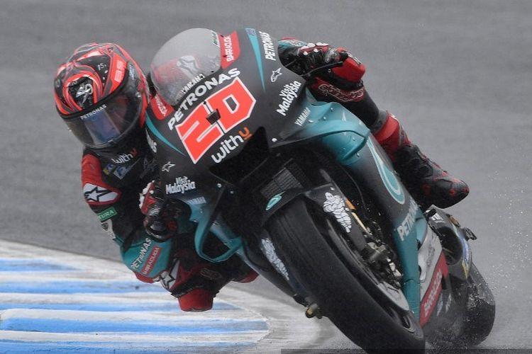 Pebalap Petronas Yamaha SRT, Fabio Quartararo, saat menjalani sesi latihan ketiga (FP3) MotoGP Jepang di Twin Ring Motegi, Sabtu (19/10/2019).