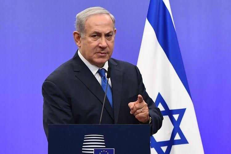 Perdana Menteri Israel Benjamin Netanyahu saat berbicara dalam pertemuan antar-menteri luar negeri Uni Eropa di Brussels, Senin (11/12/2017).
