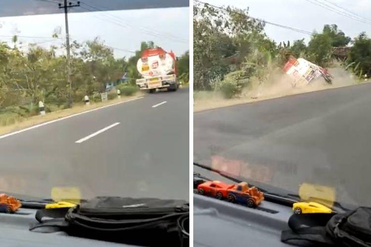 tangkapan layar video yang menampilkan detik-detik kecelakaan tunggal dari truk tangki Pertamina bermuatan 1.600 liter solar viral di media sosial.