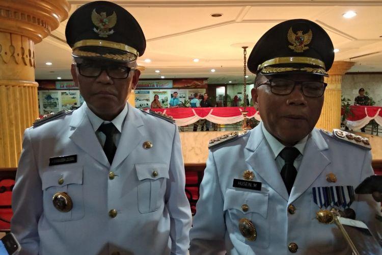 Wali Kota Jakarta Utara Syamsuddin Lologau dan Bupati Kepulauan Seribu Husein Murad memberikan keterangan kepada awak media di Kantor Wali Kota Jakarta Utara, Kamis (5/7/2018).