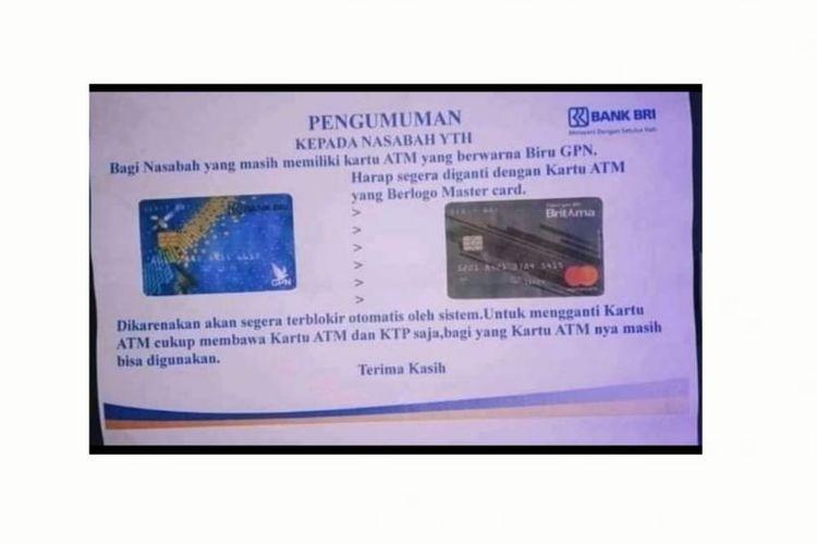 Tangkapan layar hoaks info penukaran kartu ATM BRI.