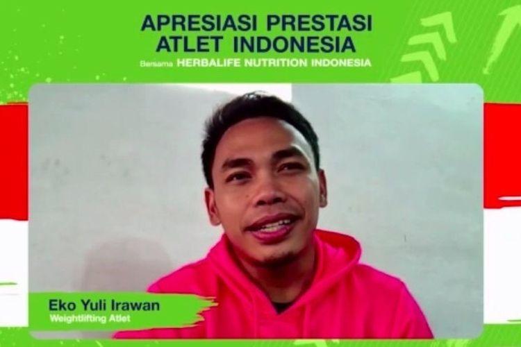 Tangkapan layar pada pertemuan virtual, Senin (27/9/2021), Apresiasi Prestasi Atlet Indonesia Herbalife Nutrition Indonesia, atlet angkat besi Indonesia pada Olimpiade Tokyo 2020, Eko Yuli Irawan.