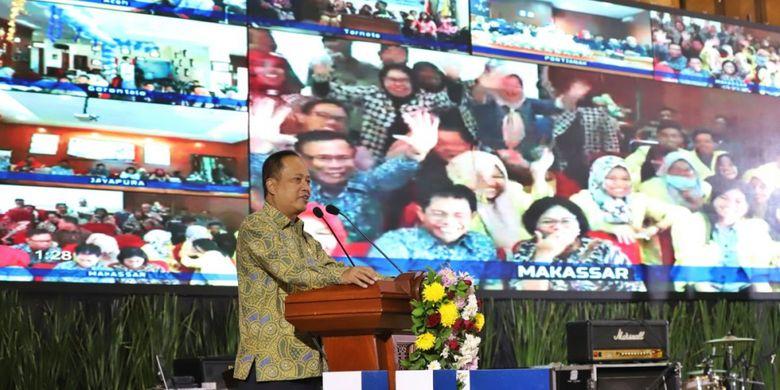 Menristek dalam sambutan acara Dies Natalis UT ke-34 di Universitas Terbuka Convention Center (UTCC), Tangerang Selatan, Selasa (4/9/2018).