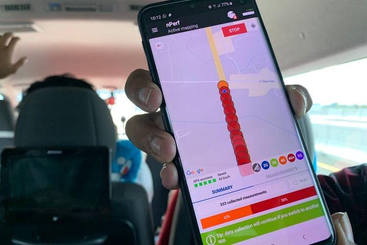 Uji jaringan telkomsel di tol layang Jakarta-Cikampek