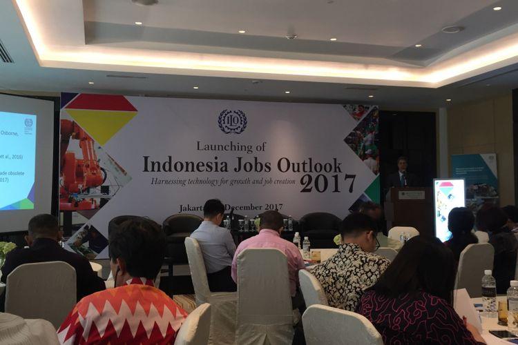 Suasana diskusi dalam acara Indonesia Jobs Outlook 2017 yang digelar International Labour Organization (ILO) di Hotel Pullman, Jakarta Pusat, Kamis (14/12/2017).