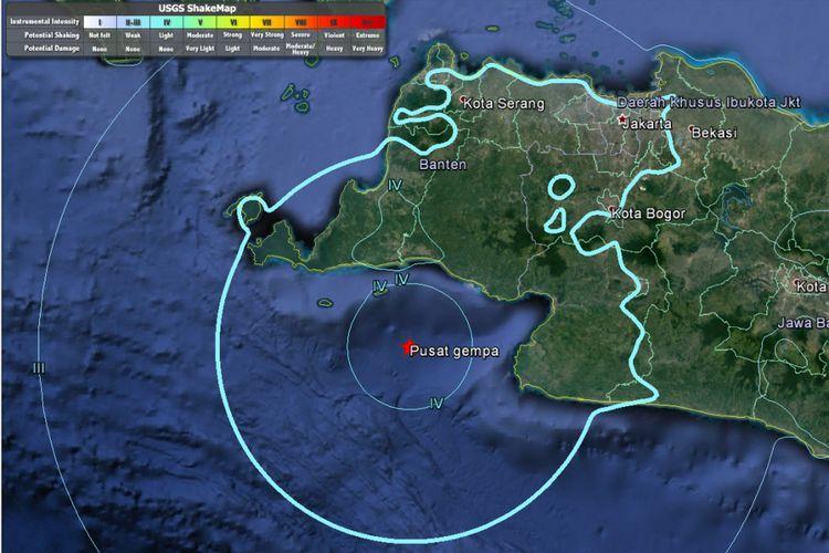 Pusat gempa pada Selasa (23/1/2018) pukul 13.34 WIB berdasarkan data USGS.