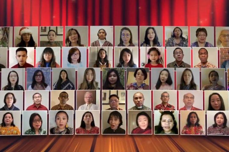 Para peserta mengikuti perayaan Natal 2020 yang digelar oleh Konsulat Jenderal Republik Indonesia (KJRI) Chicago.