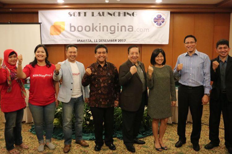 Soft Launching bookingina.com sebagai situs reservasi hotel dans restoran se Indonesia, gagasan PHRI, Senin (11/12/2017).