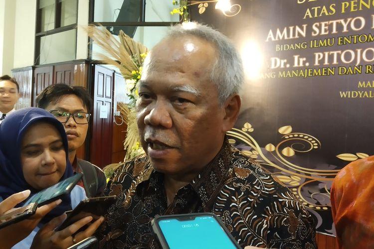 Menteri Pekerjaan Umum dan Perumahan Rakyat (PUPR) Basuki Hadimuljono saat menghadiri pengukuhan profesor di Universitas Brawijaya (UB) Kota Malang, Rabu (13/11/2019).