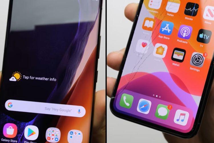 Layar Galaxy Note 20 Ultra (kiri) dan iPhone 11 Pro Max (kanan) ketika dijatuhkan dari jarak 1 meter.