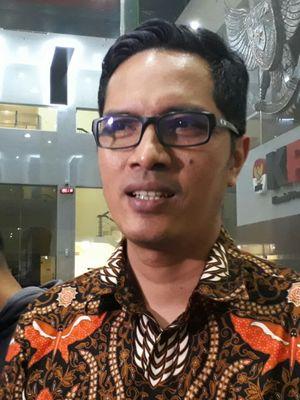 Juru Bicara KPK, Febri Diansyah, di gedung KPK, Kuningan, Jakarta, Senin (15/1/2018).