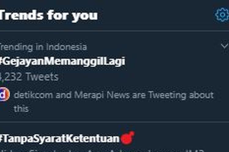 Tagar Gejayan Memanggil Lagi menduduki posisi tertinggi trending topic Twitter Indonesia, Senin (9/3/2020) siang.