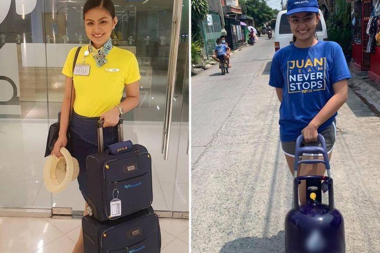 Maurice Maureen Avila, paramugari asal Filipina yang berjualan gas LPG karena dipecat perusahaan tempat dia bekerja dulu.