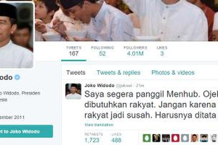 Tweet Presiden Jokowi terkait larangan ojek oleh Kemenhub.