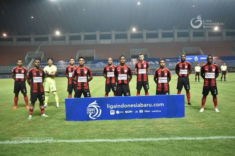 Starting eleven Persipura Jayapura pada laga kedua Liga 1 2021-2022 melawan Persita Tangerang yang berakhir dengan skor 2-1 di Stadion Pakansari Bogor, Sabtu 928/8/2021) malam.