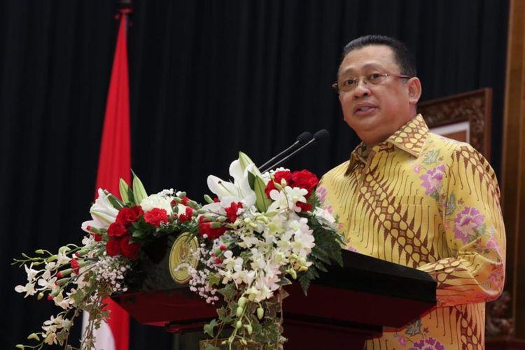 Ketua MPR Bambang Soesatyo dalam Peringatan Hari Konstitusi di kompleks parlemen, Senayan, Jakarta, Selasa (18/8/2020).