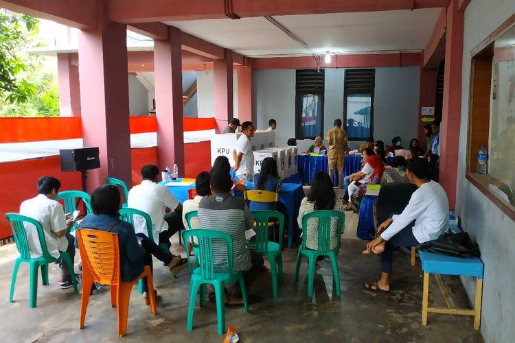 Suasana pemungutan suara Pemilu 2019 di cluster B Rusunawa Marunda, Jakarta Utara, Rabu (17/4/2019)