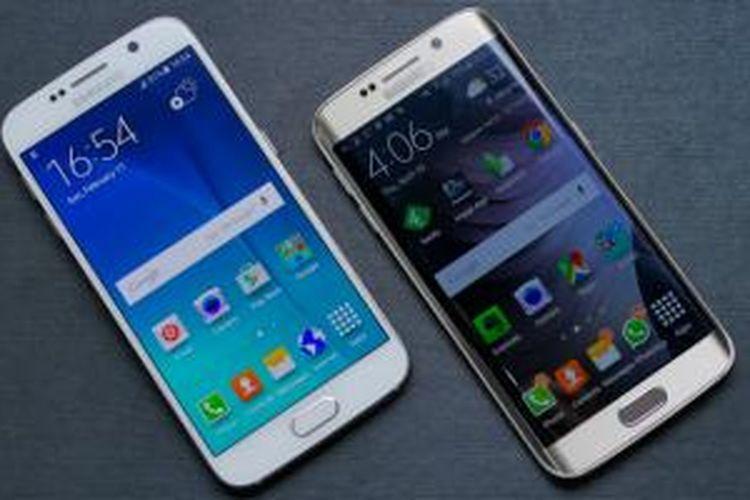 Perbandingan Galaxy S6 warna putih (kiri) dan Galaxy S6 Edge warna emas yang sama-sama mampir di meja redaksi Kompas Tekno