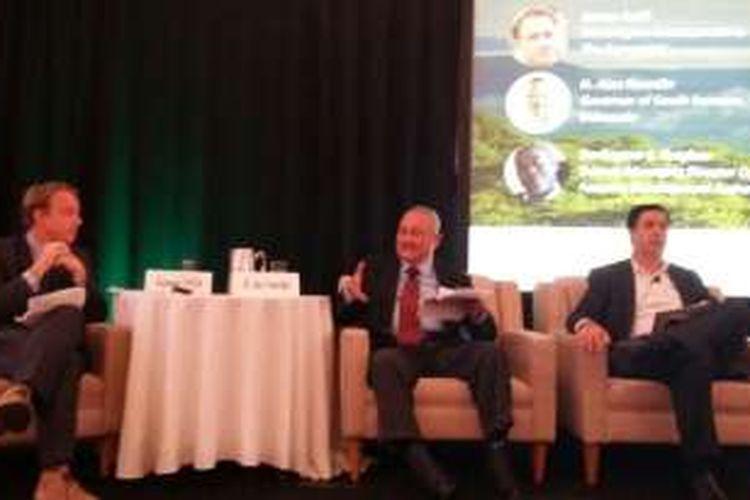 Gubernur Sumatera Selatan Alex Noerdin menjadi panelis dalam sesi diskusi World Economic Forum Sustianable Forestry and Agriculture di New York, Amerika Serikat, Kamis (22/9/2016) petang waktu setempat.