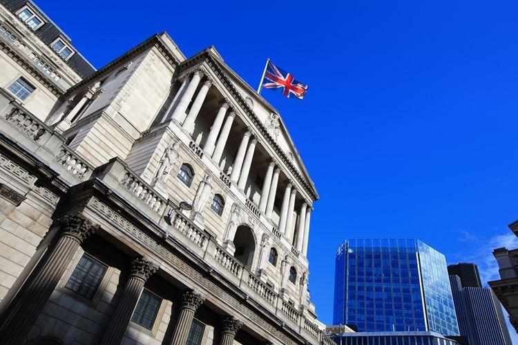 Bangunan Bank of England, bank sentral Inggris yang berlokasi di London.