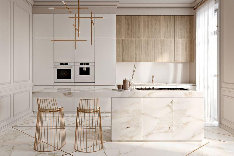 Stool unik dalam dapur minimalis serba putih