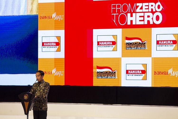 Presiden Joko Widodo menyampaikan kata sambutan pada Pengukuhan Pengurus Dewan Pimpinan Pusat (DPP) Partai Hanura Masa Bakti 2019-2024 di Jakarta Convention Center (JCC), Senayan, Jakarta, Jumat (24/1/2020). Pengukuhan Pengurus DPP Partai Hanura Masa Bakti 2019-2024 tersebut mengangkat tema Hanura Untuk Indonesia. ANTARA FOTO/Dhemas Reviyanto/pd