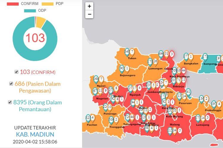 Jumlah kasus positif Covid-19 di Jawa Timur, tidak ada penambahan, Kamis (2/4/2020), atau tetap berjumlah 103 kasus.