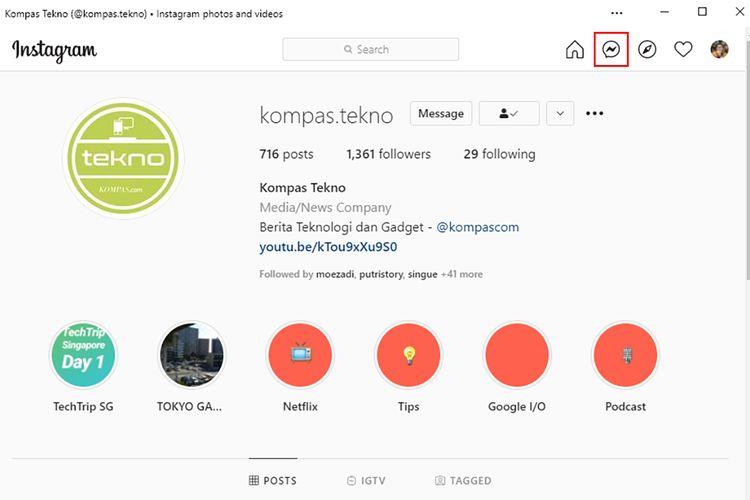 Ikon DM berada di bagian kanan atas tampilan aplikasi Instagram untuk PC Windows, di antara ikon Home dan Explore