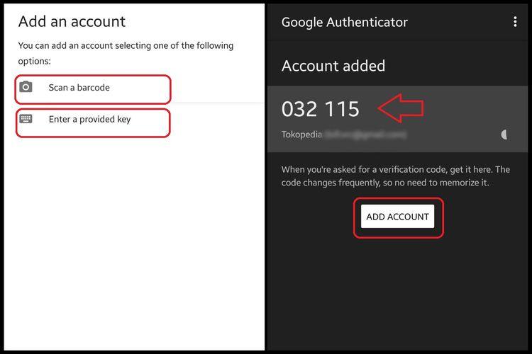 Aplikasi Google Authenticator menampilkan kode verifikasi enam digit.