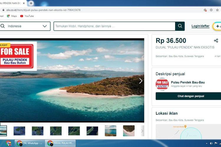pulau pendek dijual dalam situs jual beli online