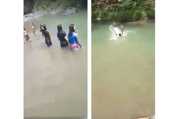 Tangkapan layar dari video bocah tenggelam yang dikira hanya bercanda.
