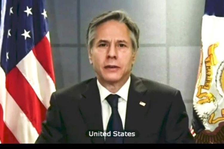 Menlu Amerika Antony Blinken pada pertemuan virtual DK PBB.