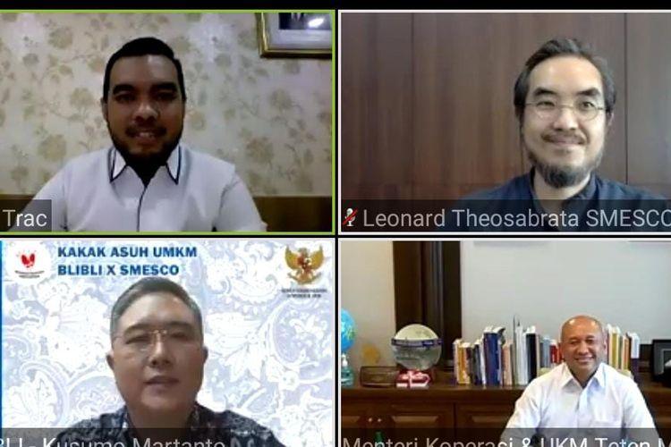 Jumpa pers virtual peluncuran program Kakak Asuh UMKM, Senin (31/8/2020). (Tangkapan Layar)