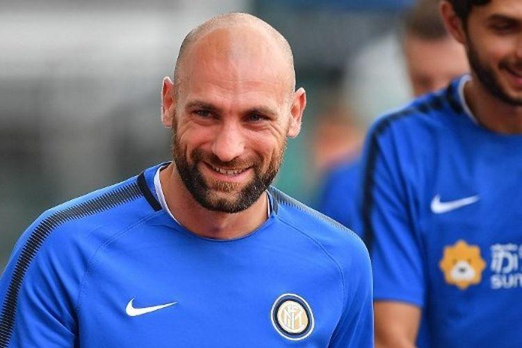 Tommaso Berni berlatih bersama skuad Inter Milan pada ajang International Champions Cup di Bishan Stadium, 26 Juli 2017.