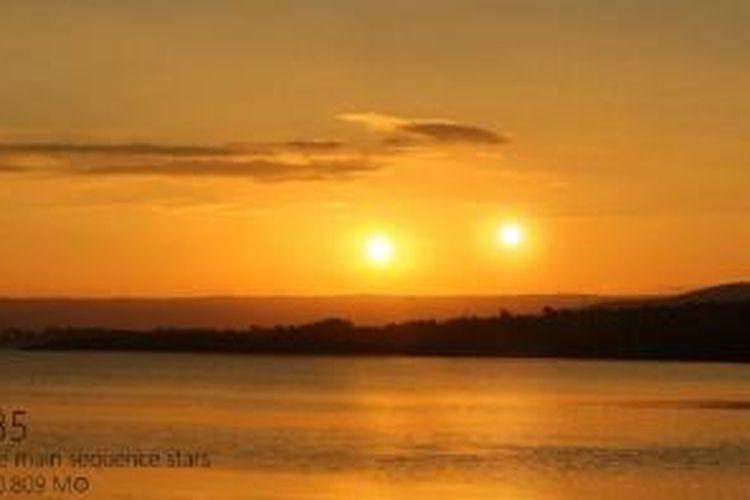 Senja akan dihiasi dengan dua bintang bila bintang Bumi adalah Kepler 35.