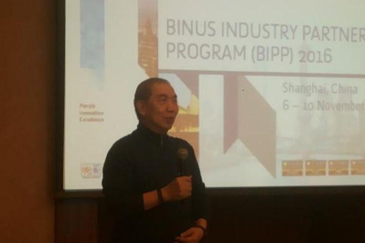 CEO Bina Nusantara Group Bernard Gunawan Binus University saat membuka Binus Industry Partnership Program (BIPP) 2016 di Shanghai, China, Selasa (8/11/2016).