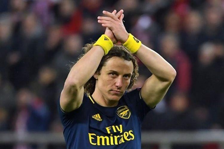David Luiz pada laga Olympiakos vs Arsenal yang digelar di Stadion Giorgios Karaiskakis, Jumat (21/2/2020) dini hari WIB.